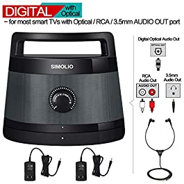 SIMOLIO Digital Assisted Hearing Amplifier Wireless TV Speaker with Optical In, Voice Highlighting Portable TV Listening…