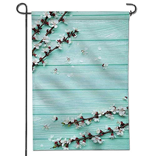 (Classic Flag, Mint Spring Cherry Blossom Petals Branch On RusticWooden Planks Seasonal White Brown Seafoam Garden Flag/Double-sided10 x)
