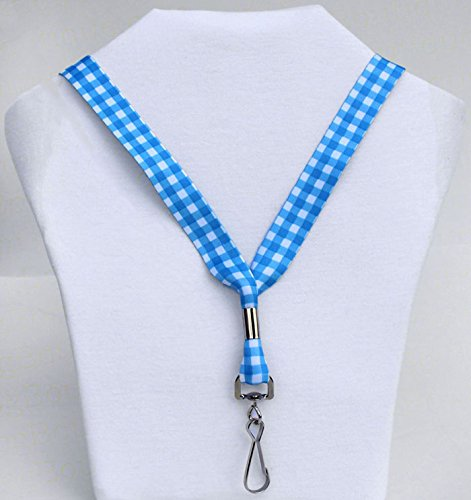Classic Blue Gingham - Ultra Soft Neck Lanyard for Sensitive Skin - Key or Badge ID Holder