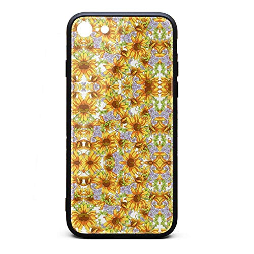 ZaiyuXio iPhone 6S Plus Case, iPhone 6 Plus Case Sunflower Golden Tempered Glass Back Cover Scratch-Resistant Anti-Slip Soft TPU Frame for iPhone 6 Plus/iPhone 6S Plus