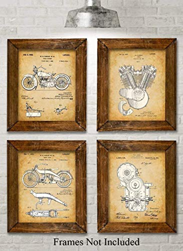 Original Harley Davidson Patent Art Prints - Set of Four Photos (8x10) Unframed - Makes a Great Gift Under $25 for Hog Riders -