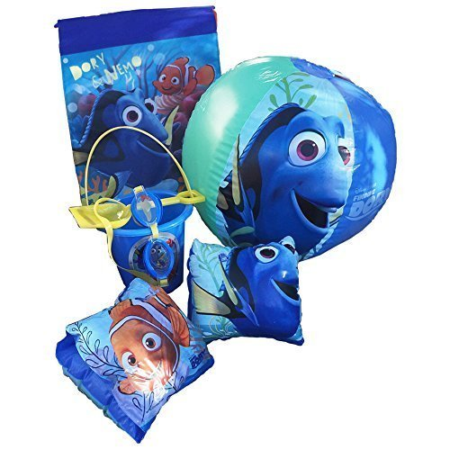 Disney Pixar Finding Nemo-Dory Ultimate Beach Gift Bundle -Beach Pail, Goggles, Beach Ball, Arm Floaties, Sling Carry Bag by Disney