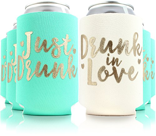 11pc or 6pc Set Drunk in Love & Just Drunk Can Coolers for Bachelorette, Bridal Shower, Wedding. 4mm Thick Bottle Sleeves, Can Coolies, Beverage Insulators (11pc Set, Aqua & Gold)]()