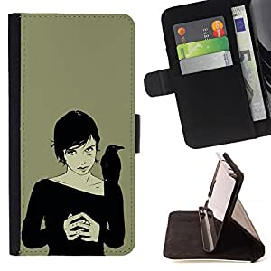 Witch & Crow - Painting Art Smile Face Style Design PU Leather Flip Stand Case Cover FOR HTC One M8 @ The Smurfs