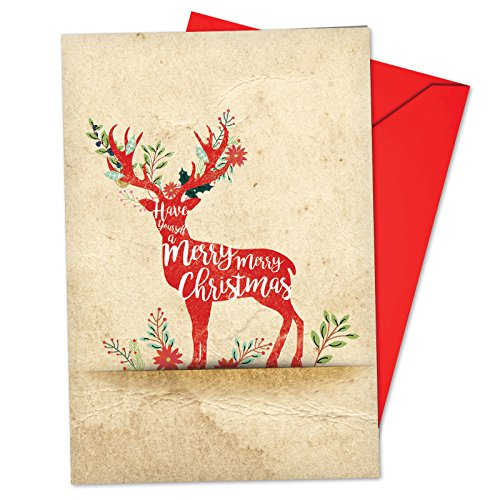 B6666AXSG Box Set of 12 Holiday Knockout Christmas Greeting Card Featuring a Christmas Phrase in White Type on a Reindeer Silhouette; with Envelopes