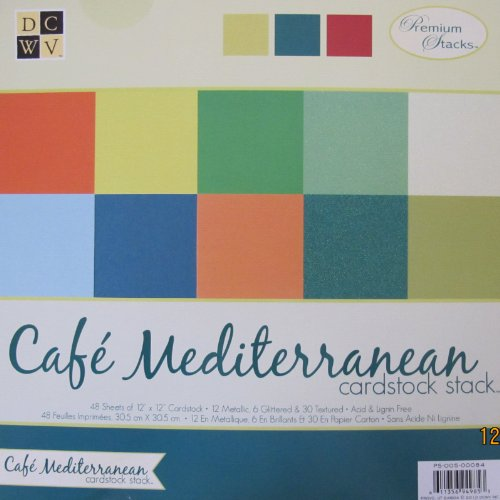 DCWV - CAFE MEDITERRANEAN CARDSTOCK STACK Pad of 48 SHEETS 12