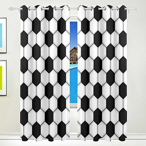 Vantaso Light Shading Window Curtains Geometric Black White Soccer Pattern Polyester 2 Pannels for Kids Girls Boys Bedroom Living Room 84 inch x 55 inch