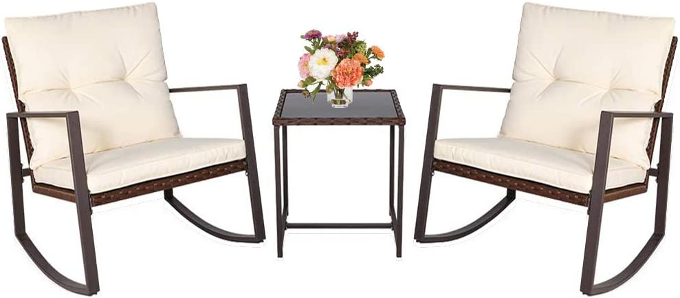 Patiomore 3 Pieces Rocking Chair Outdoor Bistro Set Wicker Rattan Conversation Set with Tempered Glass Table Brown