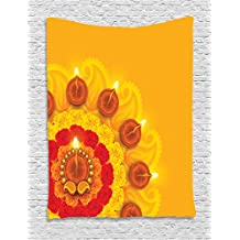 Diwali Tapestry by Ambesonne, Paisley Design with Flowers Diwali Religious Festival Burning Candles Print, Wall Hanging for Bedroom Living Room Dorm, 60 W X 80 L Inches, Marigold Orange