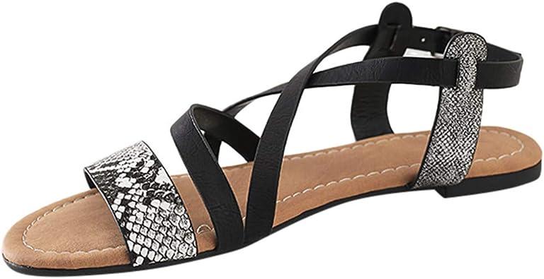 Amazon Com 2019 Nuevos Zapatos De Playa Vermers Moda Serpiente Piel Pisos Zapatos Abierto Dedo Del Pie Cruz Correa Señoras Sandalias Romanas Shoes