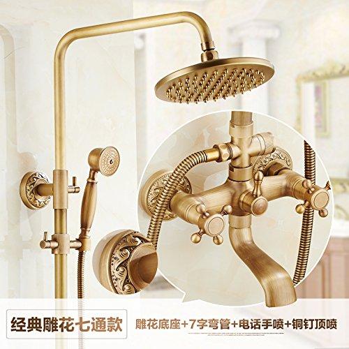 F Hlluya Professional Sink Mixer Tap Kitchen Faucet Antique-brass sprinkler head bath shower mixer thermostatic water bath shower kit,