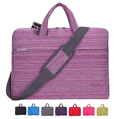Laptop Case, Laptop Shoulder Bag, CROMI 14 14.1 Inch Simplicity Slim Briefcase Commuter Bag Business Sleeve Carrying Handle Bag Nylon Waterproof Notebook Shoulder Messenger Bag (Stripe Pink)