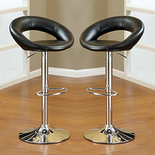 1PerfectChoice 2 pcs Adjustable Swivel Solar Ring Barstools Bar Pub Stool Footrest Black PU by 1PerfectChoice