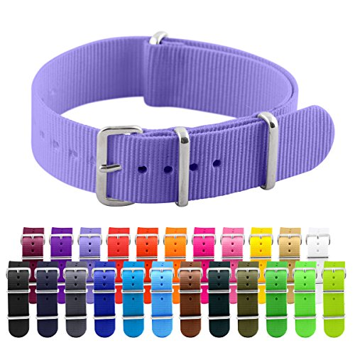 Clockwork Synergy Classic Nylon Nato watch straps bands (20mm, Light Purple)