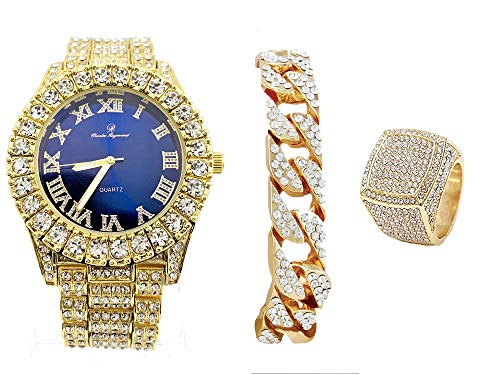 Mens Gold Big Rocks Bezel Royal-Blue Dial with Roman Numerals Fully Iced Out Watch w/Cuban Chain Bracelet & Ring Size 8 - Royal Blue/Gold - ST10327CBG (8) ()