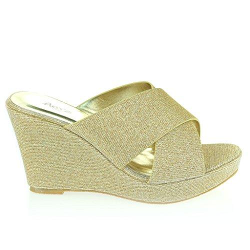 Mujer Señoras Correa Cruzada Tacón De Cuña Noche Fiesta Casual Diario Confort Sandalias Zapatos Tamaño Oro
