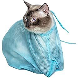 Efanr Cat Little Dog Washing Bag Multifunction Adjustable Polyester Mesh Breathable Pet Grooming Nail Cutting Shower Fitted Mesh Anti-Grasping Restraint Bags Cat Fixing Kit Pet Products (Blue)