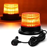 LED Strobe Light, 12V-24V Amber 40 LED Warning Safety Flashing Beacon Lights with Magnetic and 16 ft Straight Cord for Vehicle Forklift Truck Tractor Golf Carts UTV Car Bus