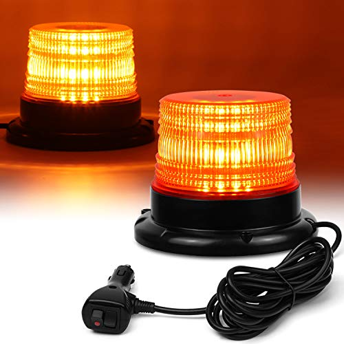 LED Strobe Light, 12V-24V Amber 40 LED Warning Safety Flashing Beacon Lights with Magnetic and 16 ft Straight Cord for Vehicle Forklift Truck Tractor Golf Carts UTV Car -