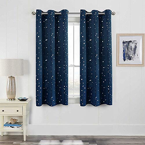 WINYY Star Printed Modern Simplicity Blackout Curtains Short Grommet Top Kids Bedroom Living Room DIY Shade Drape Hot Stamped Lightproof Curtain Color Navy,1 Panel W39 x H47 inch
