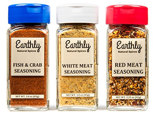 Keto Spices by Earthly, Zero Carbs, Red Meat, White Meat, Fish and Crab, Keto Friendly, Paleo Friendly (Set of 3) by Earthly Spices