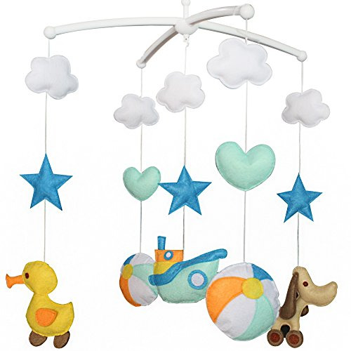 Colorful Hanging Toy, Musical Mobile [Cruise Ship+Duck+Dog+Ball] Mobile Cruise Ship