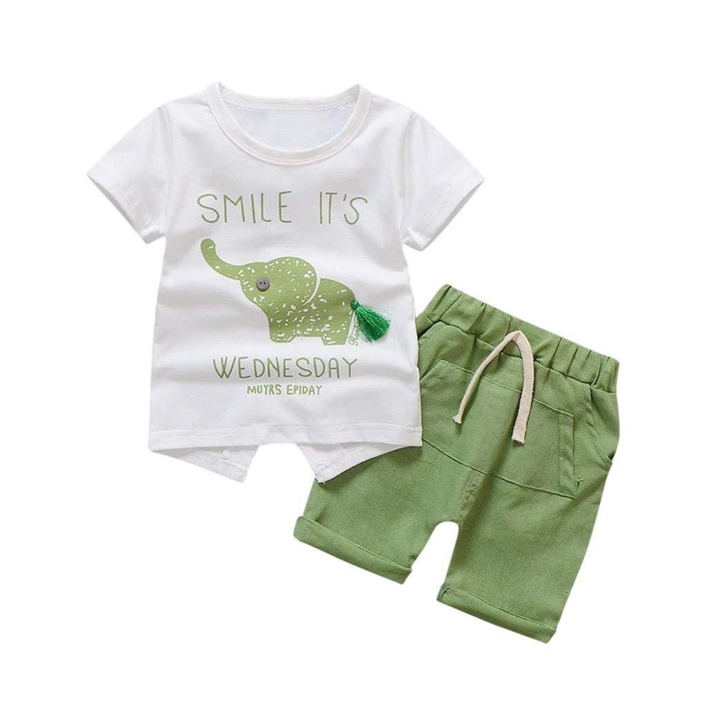 Baby Girls Summer Pajamas Set Cheap,Infant Baby Girls Cartoon Elephant Tee Tops + Shorts Pants(Green,80)