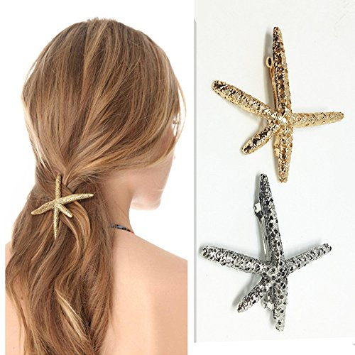 QTMY 2 PCS Metal Starfish Hairpin Hair Clips Hair Accessories