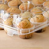 24 Compartment Clear High Dome Cupcake Container - Great for high topping - 5 boxes 24 slot each - Plus White standard size baking cups
