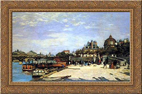 The Pont des Arts and the Institut de France 24x18 Gold Ornate Wood Framed Canvas Art by Renoir, Pierre Auguste