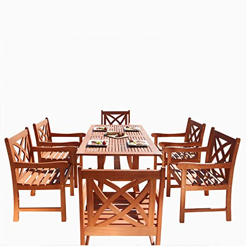 Vifah V189SET2 Airlie Outdoor 7-Piece Wood Patio Dining Set with Curvy Leg Table