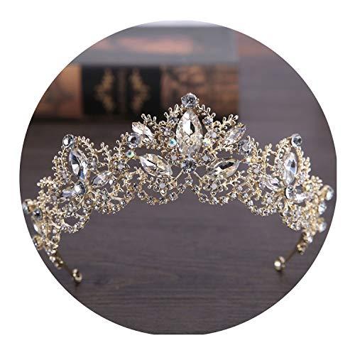 Luxury Crystal Bridal Crown Tiaras Light Gold Tiaras for Women Bride Wedding Hair - Crystal Nine Tiara Light