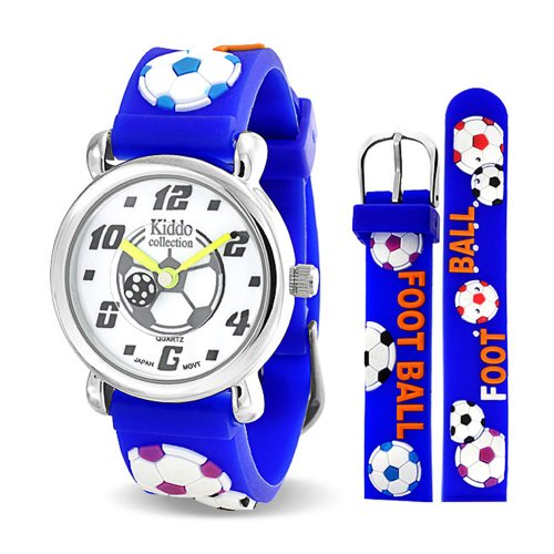 Bling Jewelry Blue Soccer Football Sports Kids Watch Stainless Steel Back (Soccer Bling)