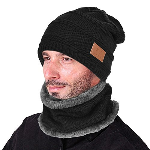 (VBIGER Beanie Hat Scarf Set Knit Hat Warm Thick Winter Hat For Men (New Black))
