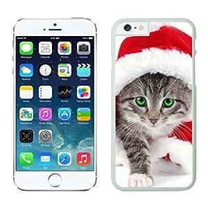 Customized Portfolio Red Christmas Walking Kitten White Phone Case For Iphone 6 4.7 Inch
