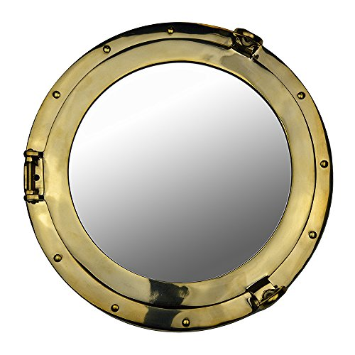 "Nautical Tropical Imports 20"" Solid Brass Wall Mount Porthole Mirror from Nautical Tropical Imports"