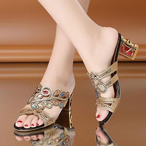 Lolittas Sliver Glitter Diamante Sandals for Women Ladies, Summer Block Low Heel Embellished Glitter Sparkly Jewelled Bling Wedding Open Toe Sandals Size 2-8 Za-black 2