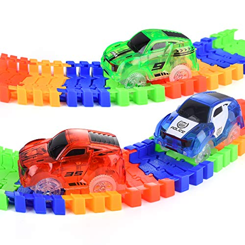 Accessories Compatible with Most Tracks for Ages 3 4 5 6 7 Kids Miavogo Magic Track Cars 3 Pack Replacement Light Up Track Car Toys with 5 LED Flashing Lights