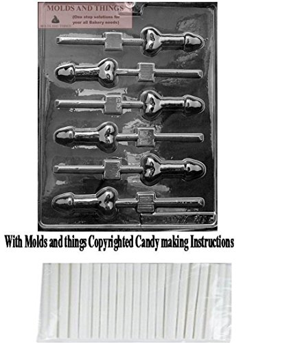 - MOLDS AND THINGS Small Pecker POP Adult Chocolate Candy Mold with Copyrighted Molding Instructions + 25 Sticks