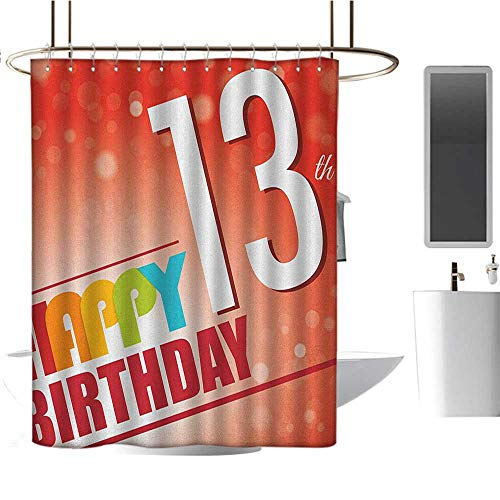 MKOK Rustic Shower curtain54 x78 13th Birthday,Retro Style Teenage Party Invitation Graphic Design with Bokeh Effect Rays Multicolor,100% Polyester Fabric Bathroom Drapes ()