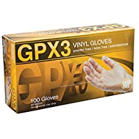 AMMEX - GPX342100-BX - Vinyl Gloves - GPX3 - Disposable, Powder Free, Industrial, 3 mil, Small, Clear (Box of 100)