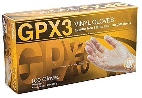 AMMEX - GPX346100-BX - Vinyl Gloves - GPX3 - Disposable, Powder Free, Industrial, 3 mil, Large, Clear (Box of 100)