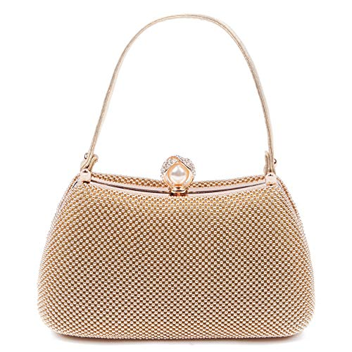 TOIHSUAN Womens Gold Metal Mesh Clutch Purse Bag for Evening-with shoulder Chain (Pouch Evening Metallic Bag)