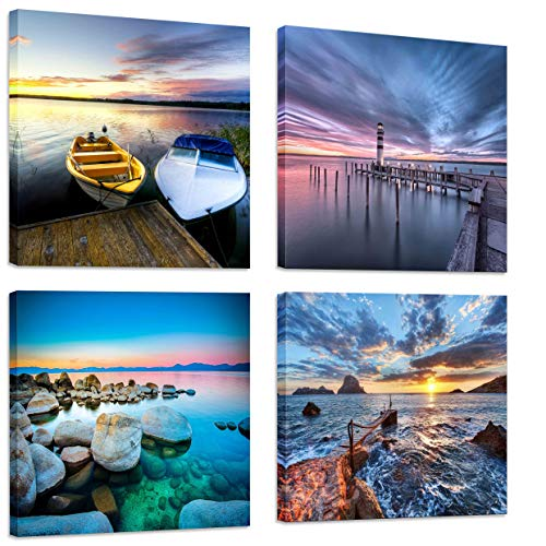 (FUNHUA Sea Rocks and Seaside Ferries Art Prints Framed Seaside Landscape Canvas Painting Wall Art for Bathroom Entryway Office Wall Decor 12x12inchx4pcs)