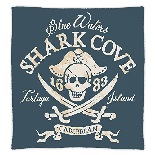 iPrint Super Soft Throw Blanket Custom Design Cozy Fleece Blanket,Pirate,Shark Cove Tortuga Island Caribbean Waters Retro Jolly Roger,Slate Blue White Light Mustard,Perfect for Couch Sofa or Bed