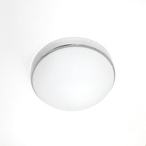 Lampenlux Aki - Lámpara de techo con cubierta de cristal (cromo ...