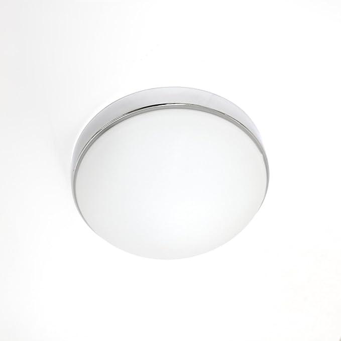 LED Lámpara de techo plafón Aki cromo con pantalla de ...