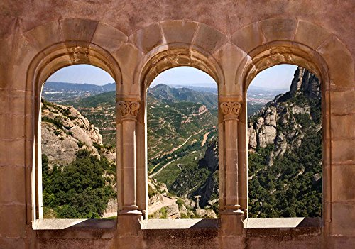 12-Feet wide by 8-Feet high. Prepasted wallpaper mural from a photo of a:3D or Trompe L'Oeil view of the Montserrat Monastery Spain.Easy to hang remove and reuse (hang again) If U do as in our video by Muralunique