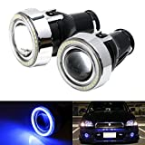 "iJDMTOY 3"" Projector Fog Light Lamps w/ 40-SMD Sparking Blue LED Halo Angel Eyes Rings For Many Cars"