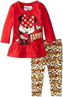 Disney Baby Girls' Minnie Mouse Stripe Legging Set with High Low Top